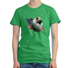 Keeshond Flag Women's Fitted T-Shirt (dark)