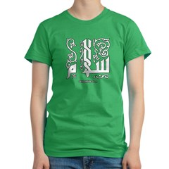 Peace Arabic Calligraphy Women's Fitted T-Shirt (dark)