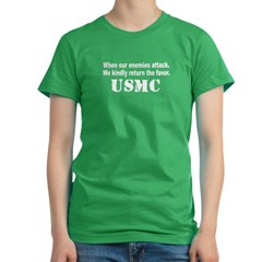 USMC When our enemies attack Women's Fitted T-Shirt (dark)