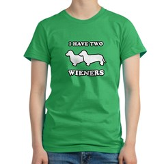 I have two wieners Women's Fitted T-Shirt (dark)