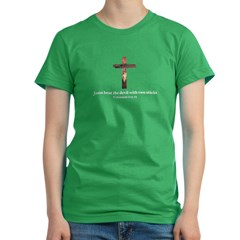 Jesus beat the devil with two sticks Women's Fitted T-Shirt (dark)