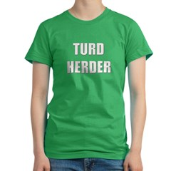 Turd Herder Women's Fitted T-Shirt (dark)