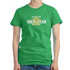 Dentist RockStar by Nigh Women's Fitted T-Shirt (dark)