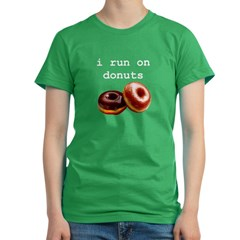i run on donuts Women's Fitted T-Shirt (dark)