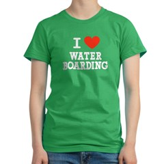 I Love Water Boarding Women's Fitted T-Shirt (dark)