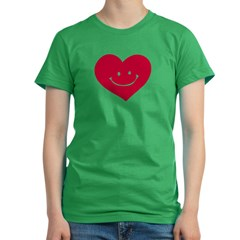 Smiley Heart Women's Fitted T-Shirt (dark)