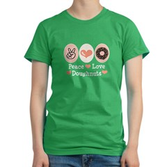Peace Love Doughnuts Donu Women's Fitted T-Shirt (dark)