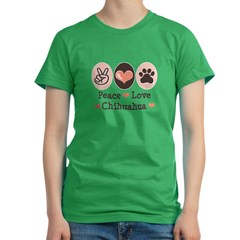 Peace Love Chihuahua Women's Fitted T-Shirt (dark)