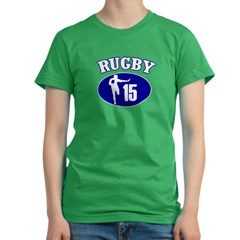 Fullbacks Play RUGBY Women's Fitted T-Shirt (dark)