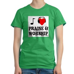 I HEART PRAISE AND WORSHIP Women's Fitted T-Shirt (dark)