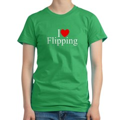 """I Love (Heart) Flipping"" Women's Fitted T-Shirt (dark)"