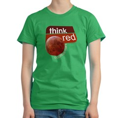 Think Red Colonize Mars Women's Fitted T-Shirt (dark)