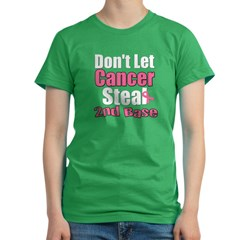 Don't Let Cancer Steal 2nd Base Women's Fitted T-Shirt (dark)
