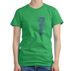 Harmonica Blues Vert. Women's Fitted T-Shirt (dark)