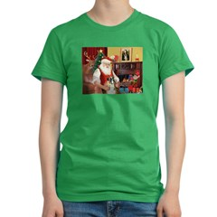 Santa's Boxer (2n) Women's Fitted T-Shirt (dark)