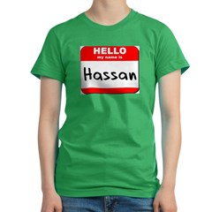 Hello my name is Hassan Women's Fitted T-Shirt (dark)