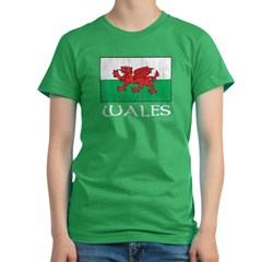 Wales Flag Women's Fitted T-Shirt (dark)