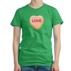 LOVE Orange Candy Heart Women's Fitted T-Shirt (dark)