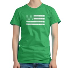 Rugged Amercian Flag Women's Fitted T-Shirt (dark)