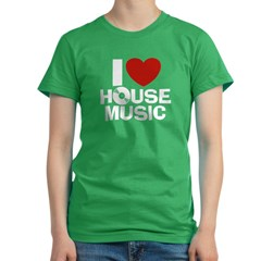 I Love House Music Women's Fitted T-Shirt (dark)