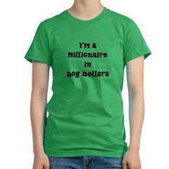 dog dollars millionaire Women's Fitted T-Shirt (dark)