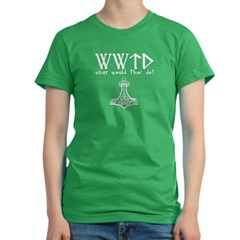WWTD what would Thor do! Women's Fitted T-Shirt (dark)