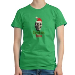 Christmas Rocks Skull Women's Fitted T-Shirt (dark)