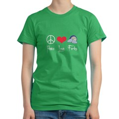 Peace Love Forks Women's Fitted T-Shirt (dark)