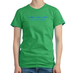triple shark logo green.psd Women's Fitted T-Shirt (dark)