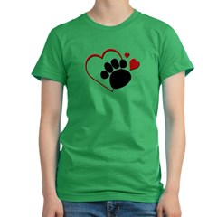 Dog Paw Print with Love Hear Women's Fitted T-Shirt (dark)