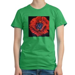 Red Poppy on Black Women's Fitted T-Shirt (dark)