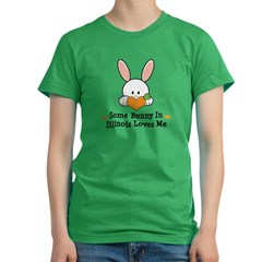 Some Bunny In Illinois Loves Me Women's Fitted T-Shirt (dark)