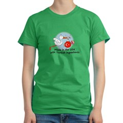 Stork Baby Turkey USA Women's Fitted T-Shirt (dark)