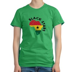 Ghana Black stars Women's Fitted T-Shirt (dark)