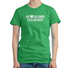 My Heart Belongs To A Soldier Women's Fitted T-Shirt (dark)