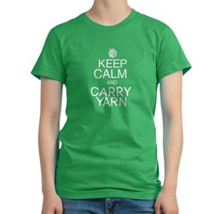 Keep Calm and Carry Yarn Women's Fitted T-Shirt (dark)