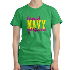 Proud Navy Girlfriend Women's Fitted T-Shirt (dark)