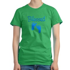 Blessed Blue Feet Women's Fitted T-Shirt (dark)
