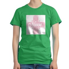 Nurse Pink Lacy Cross Women's Fitted T-Shirt (dark)
