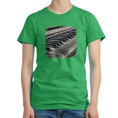 Distressed Vintage Piano Women's Fitted T-Shirt (dark)