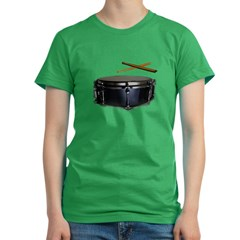Snare &amp; Sticks Drummer Women's Fitted T-Shirt (dark)