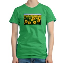 Sunflowers in field Women's Fitted T-Shirt (dark)
