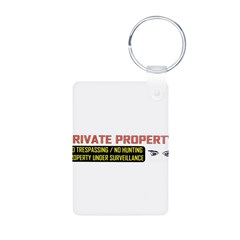 3 x 10 No Trespassing Decal Aluminum Photo Keychain