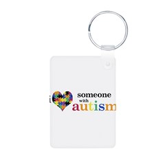 I HEART Someone with Autism - Aluminum Photo Keychain