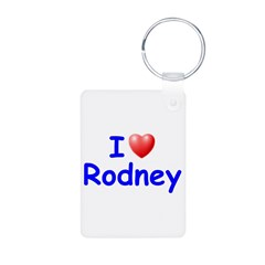 I Love Rodney (Blue) Aluminum Photo Keychain