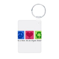 Peace Love Recycle Aluminum Photo Keychain