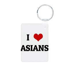 I Love ASIANS Aluminum Photo Keychain