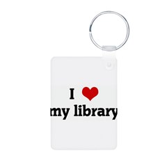 I Love my library Aluminum Photo Keychain