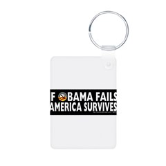 Anti-Obama Obama Fails America Survives Aluminum Photo Keychain