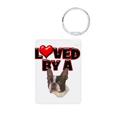 Loved by a Boston Terrier Aluminum Photo Keychain